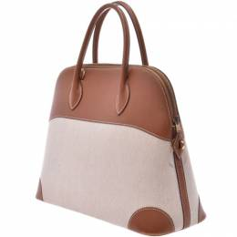 Hermes Brown Toile And Leather Gold Harware Bolide 37 Bag 229992