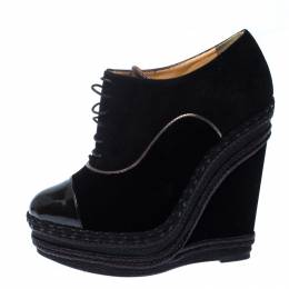 Christian Louboutin Black Velvet and Suede Lace Espadrilles Wedge Booties Size 36.5 229807
