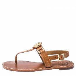 Tory Burch Brown Leather Everly T-Strap Flat Sandals Size 38.5 229222