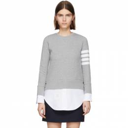 Thom Browne Grey 4-Bar Loopback Jersey Sweatshirt FJT090A-00535