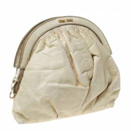 Miu Miu Cream Leather Frame Clutch 228207