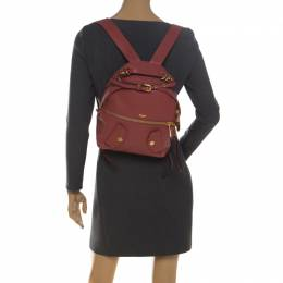 Moschino Nude Red Leather Medium Pocket Backpack 228328