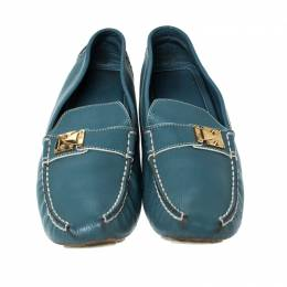Louis Vuitton Blue/White Leather S-Lock Driving Loafers Size 40 230445
