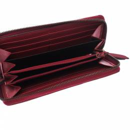 Gucci Red Leather GG Marmont Zip Around Wallet 229371