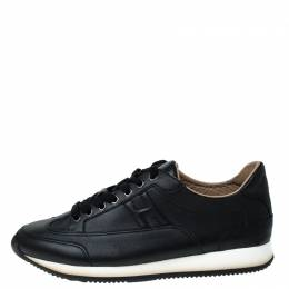 Hermes Black Leather Lace Up Low Top Sneakers Size 41 230390