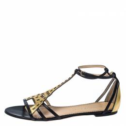 Charlotte Olympia Black/Gold Leather Parisienne Eiffel Tower Flat Sandals Size 41 230477