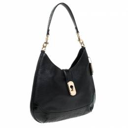 Coach Black Leather Amber Hobo 228475