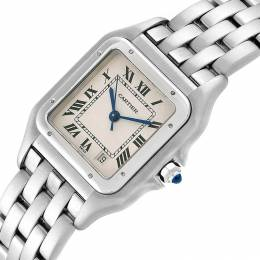 Cartier White Stainless Steel Panthere W25054P5 Women's Wristwatch 26x36MM 231159