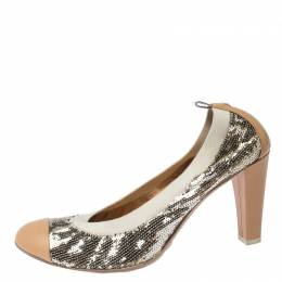 Chanel Metallic Gold Sequin And Beige Leather Embellished Cap Toe Pumps Size 41 231234