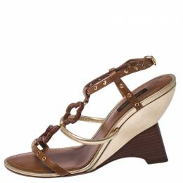 Louis Vuitton Brown Leather Fleur Strappy Wedge Sandals Size 38