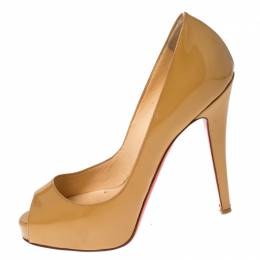 Christian Louboutin Nude Beige Patent Leather Peep Toe Very Prive Pump Size 36 232031