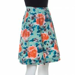 Marc by Marc Jacobs Multicolor Rose Printed Cotton Poplin Jerrie Skirt S 232754