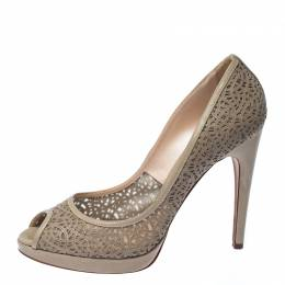 Casadei Grey Perforated Leather Peep Toe Pumps Size 41 232314