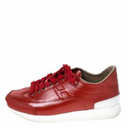 Hermes Red Patent Leather Low Top Sneakers Size 37.5