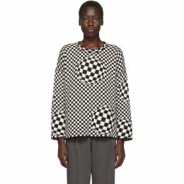 Off-White Black and Off-White Checked Sweater OWHE017F19F940501000