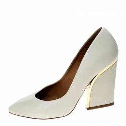 Chloe Beige Leather Beckie Pumps Size 39