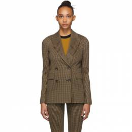 Rosetta Getty Beige and Black Double-Breasted Peaked Lapel Blazer 14194M7507
