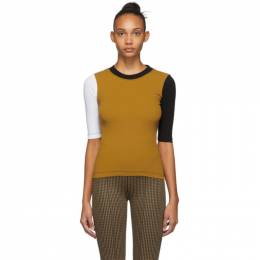 Rosetta Getty Yellow and Black Cropped Sleeve T-Shirt 14194N5260