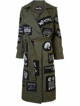 Haculla patch detail belted coat HAW08AHX04