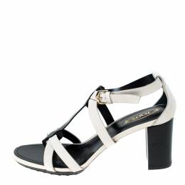Tod's White/Black Nubuck Leather Ankle Strap Sandals Size 36 233330