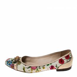 Gucci Multicolor Floral Print Leather and Canvas Bamboo Horsebit Ballet Flats Size 41.5 233707