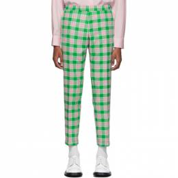 Thom Browne Green and Pink Flannel Check Trousers 192381M19100502GB