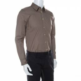 Burberry	 Cappuccino Brown Cotton Nova Check Detail Shirt XL