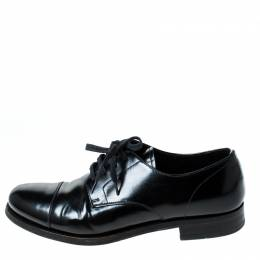 Prada Black Leather Lace Up Oxfords Size 41 235125