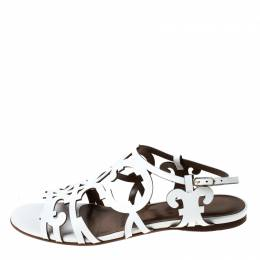 Hermes White Leather Karlotta Cut Out Flat Sandals Size 36.5