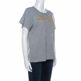 Marc Jacobs Grey Cotton Repeated Logo Print T Shirt L 233808