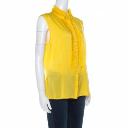 St. John Couture Canary Yellow Silk Ruffle Detail Button Front Blouse L