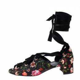 Erdem Black Floral Canvas Cut Out Lace Up Sandals Size 38 230400