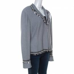 St. John Couture Grey Knit Embellished Boucle Trim Tailored Jacket XL 234753