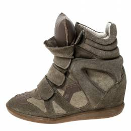 Isabel Marant Green Suede Bekett Wedge High Top Sneakers Size 36 235795