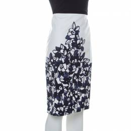 St. John White and Navy Blue Floral Printed Stretch Cotton Pencil Skirt L