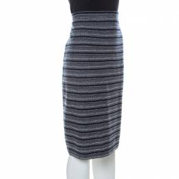 St. John Collection by Marie Gray Navy Blue Striped Knit Skirt XL 234859