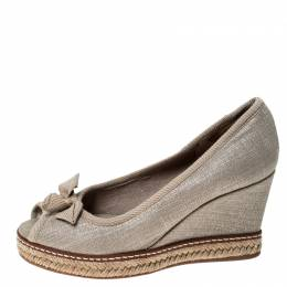 Tory Burch Beige Canvas Jackie Bow Espadrille Wedge Pumps Size 35