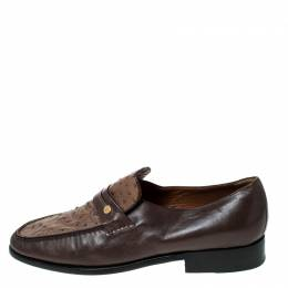 Moreschi Brown Leather And Ostrich Trim Slip On Loafers Size 41 236645