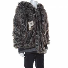 Dolce and Gabbana Grey Faux Fur Wolf Hood Bomber Jacket XXL 235890