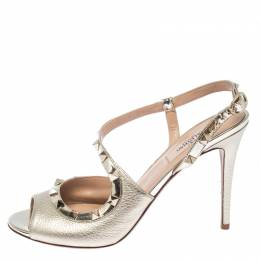 Valentino Metallic Gold Leather Rockstud Ankle Strap Sandals Size 39 236018