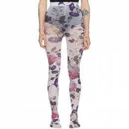 White and Multicolor Printed Tights Erdem 192641F07600101GB