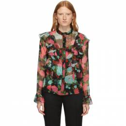 Erdem Black and Pink Giralda Blouse AW19_5875OBV