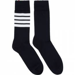Thom Browne Navy 4-Bar Mid-Calf Socks MAS023B-01690