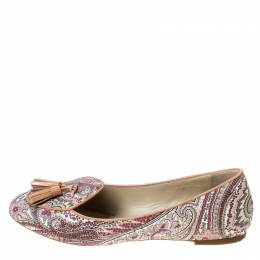 Etro Multicolor Printed Coated Canvas Tassel Ballet Flats Size 36 233724