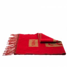 Louis Vuitton Red and Camel Cashmere Fringe Trim Baroda Scarf 233756
