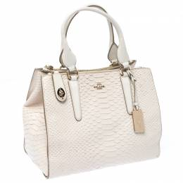 Coach Cream Python Embossed Leather Tote 233082
