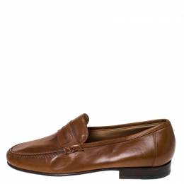 Moreschi Brown Leather Penny Slip On Loafers Size 41.5 236202