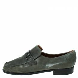 Moreschi Grey Leather Slip On Loafers Size 41.5 236208