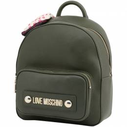 Love Moschino Dark Green Faux Leather Scarf Backpack Moschino Jeans