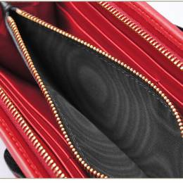 Miu Miu Black/Red Leather Ruffle Zip Around Wallet 236916